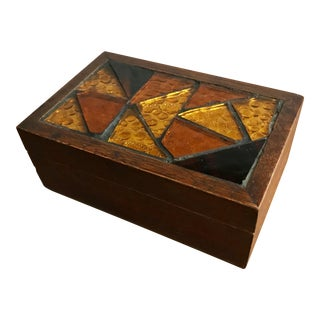 Jewelry Trinket Keepsake Box w/Amber Glass