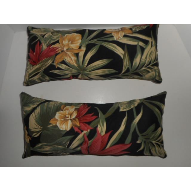 Tropical Palm Leaf & Orchid Pillows - a Pair - Image 2 of 8