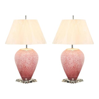 Beautiful Pair of Blown Glass Lamps with Lucite and Nickel Accents