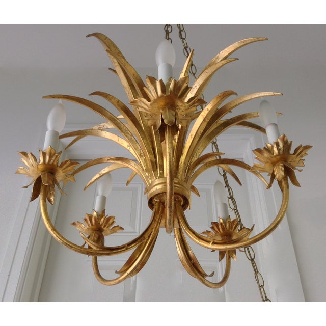 Hollywood Regency Gilt Tole Chandelier - Image 6 of 7