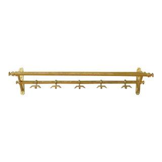 French Art Deco Brass Coat Rack