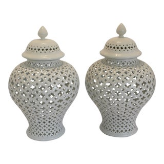 Carthage Large Pierced Ginger Jars - Pair