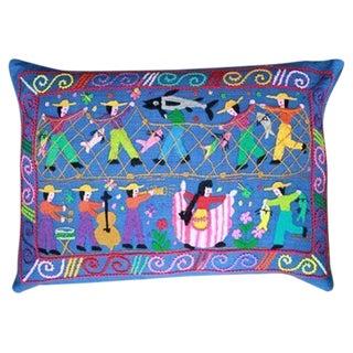 Hand Woven Blue Villa De Pescadores Pillow