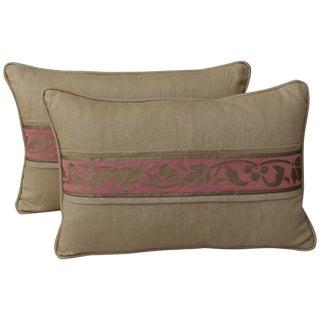 Metallic Gold Stenciled Linen Pillows - Pair