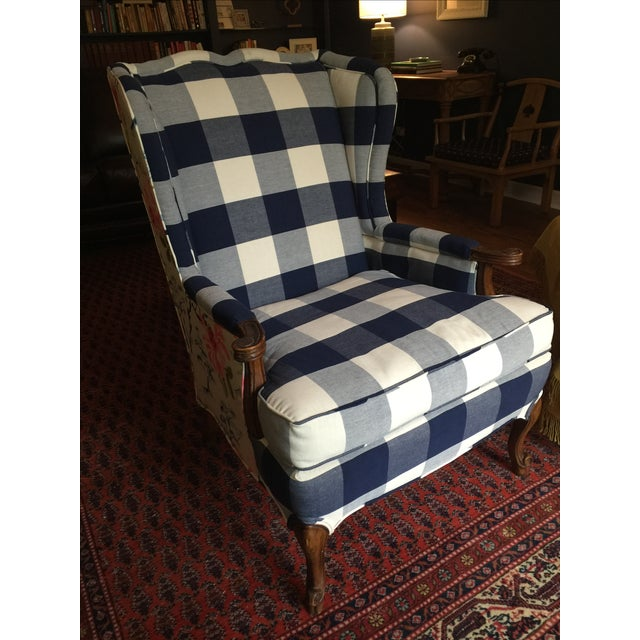 Navy Gingham Amp Floral Wrapped Wingback Chair Chairish