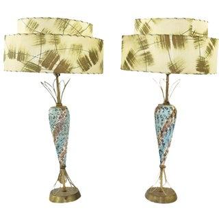 Atomic Blue, Gold & White Ceramic Lamps - A Pair