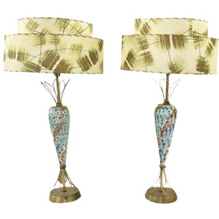 Atomic Blue, Gold & White Ceramic Lamps - A Pair