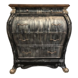 Bombay Shaped Chest and Desk in Black, Gold, and Silver