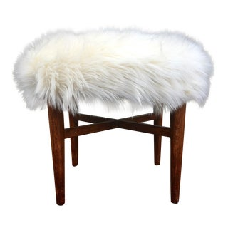 Mid-Century Faux Fur Upholstered Wooden Ottoman