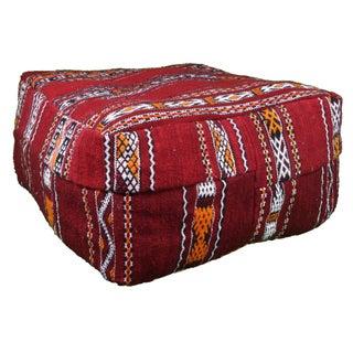 Red & Orange Striped Moroccan Berber Pouf