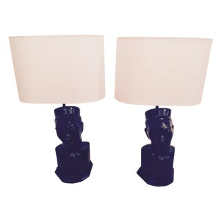 1950s Black Chinoiserie Lamps- A Pair