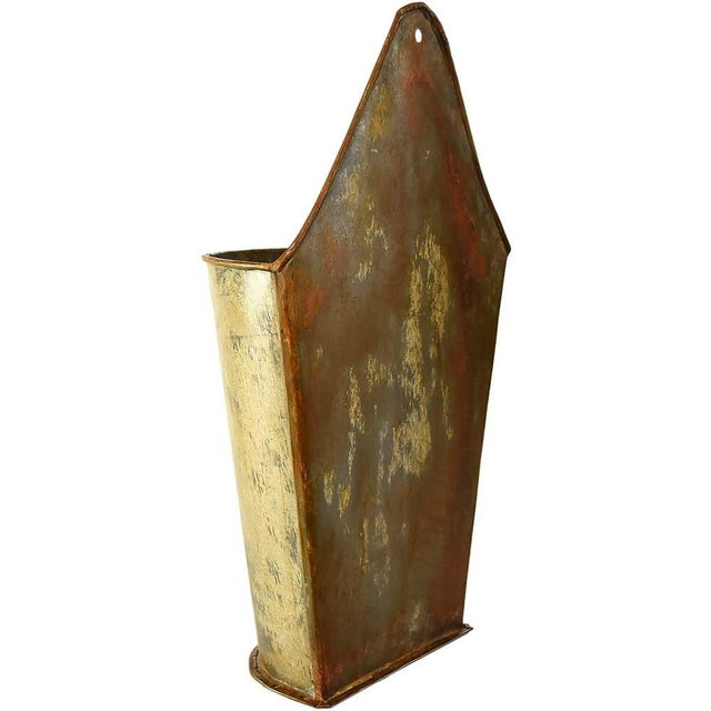 small metal wall planter chairish. Black Bedroom Furniture Sets. Home Design Ideas