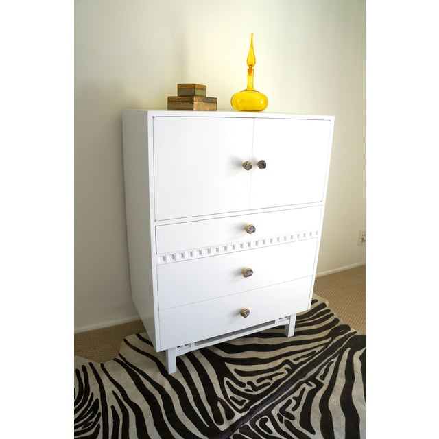 Mid-Century White Crystal Stone Pull Cabinet - Image 11 of 11