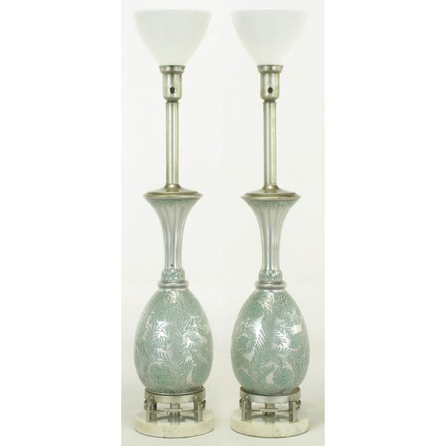 Pair Reverse Silvered & Hand Painted Glass Table Lamps - Image 2 of 8