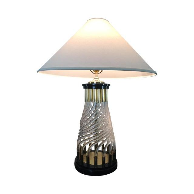 Hollywood Regency Glass Rod Lamp - Image 1 of 4
