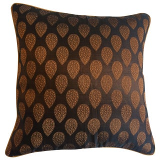 Brown & Gold Brocade Pillow Cover