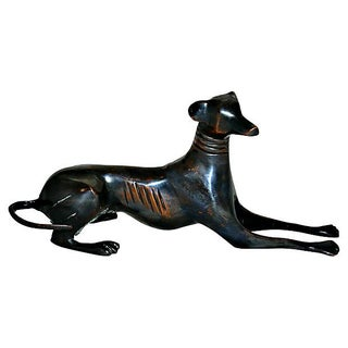 Cast Bronze Seated Whippet