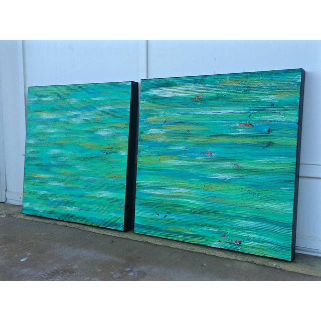 Contemporary Abstract Paintings - A Pair - Image 3 of 6