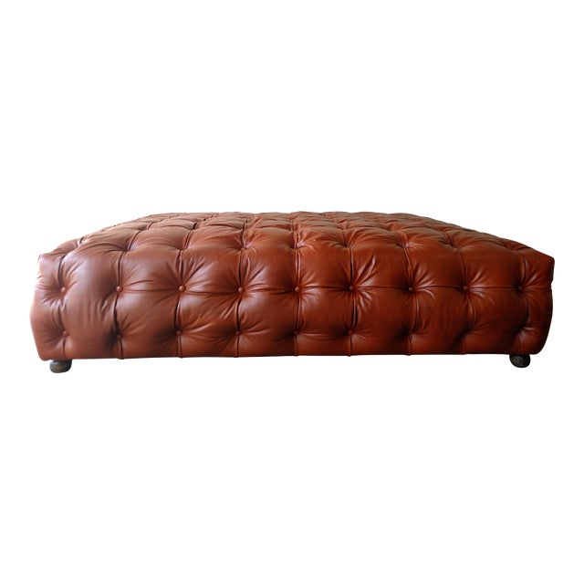 Saddle Brown Tufted Leather Ottoman - Image 1 of 6