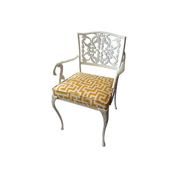 Wrought Iron Arm Chairs ~ Wrought iron arm chair with greek key textile chairish