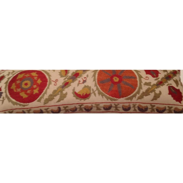 Red & Tan Silk Embrodery Suzani Pillow - Image 8 of 10