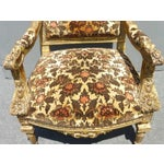 Image of Antique Louis XVI Gilt French Arm Chairs - A Pair