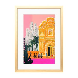 Bright Art Print With White Mat and Gold Frame