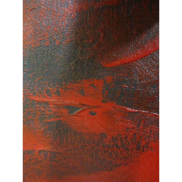 Image of Feathery Red Abstract Painting