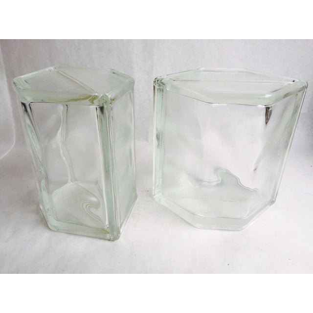 Vintage Glass Block Geometric Bookends - A Pair - Image 7 of 8