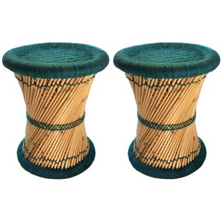Natural Geo Moray Teal Accent Stools - A Pair