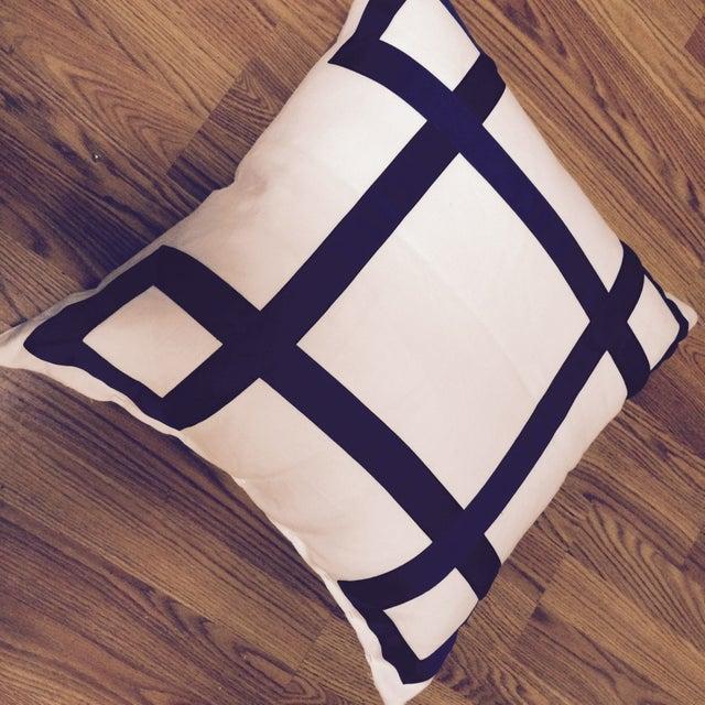 Navy Ribbon Pillow - A Pair - Image 3 of 4