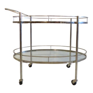 Mid-Century Oval Polished Stainless Steel Tea Cart