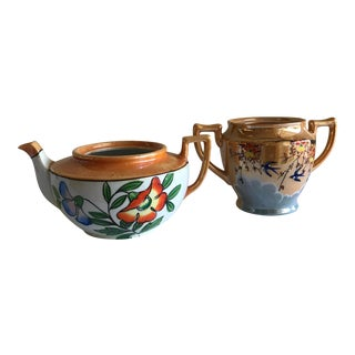 Mid-Century Lusterware Plant Pots - A Pair