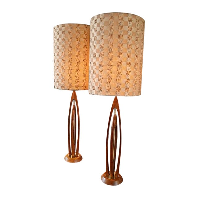 Danish-Style Sculpted Teak Lamps- A Pair - Image 1 of 9