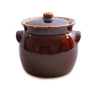 Vintage Hull Pottery Brown Drip Glaze Bean Pot