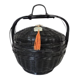 Japanese Black Lacquer Handled Basket