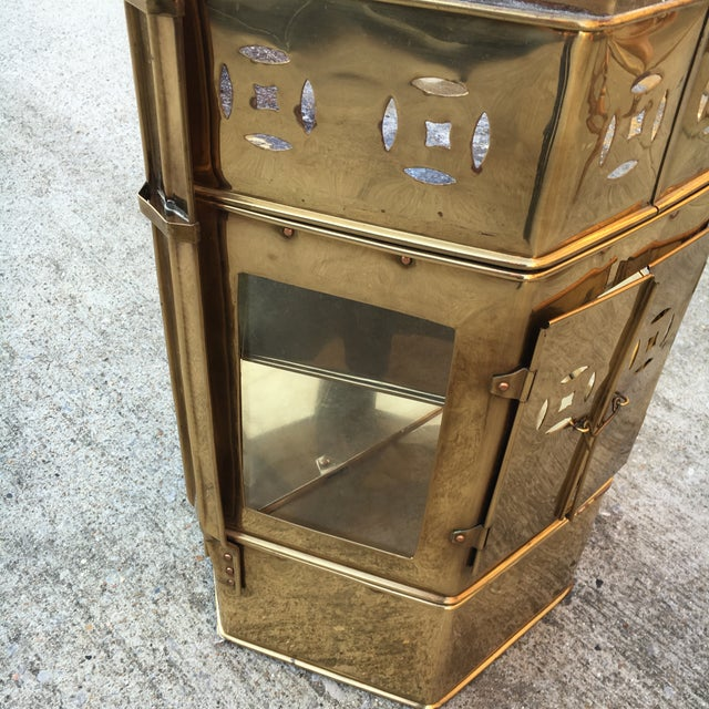 Brass Enclosed Table & Storage Stand - Image 4 of 6