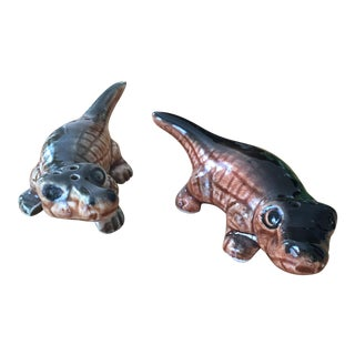 Vintage Alligator Salt & Pepper Shakers - A Pair