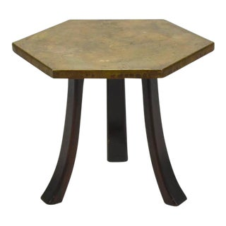 Harvey Probber Hexagonal Side Table with Bronze Top