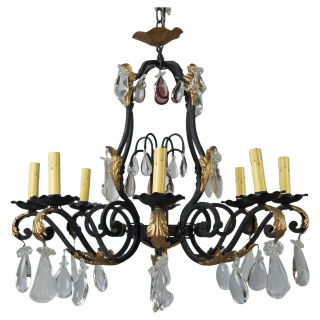 French Eight Light Iron Gilt & Crystal Chandelier - Image 1 of 6