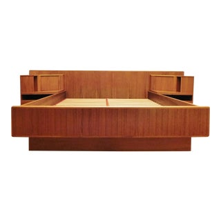 Danish Modern Uldum Mobler Teak Floating Nightstands Platform Queen Bed