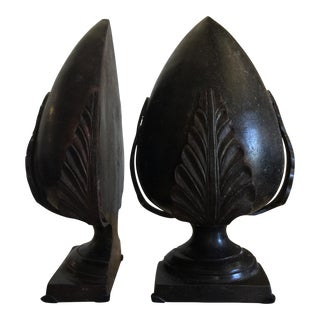 Acanthus Leaf Motif Bronze Bookends - A Pair
