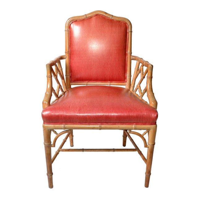Faux Bamboo Chinese Chippendale Vinyl Chairs - Set of 8 - Image 3 of 10