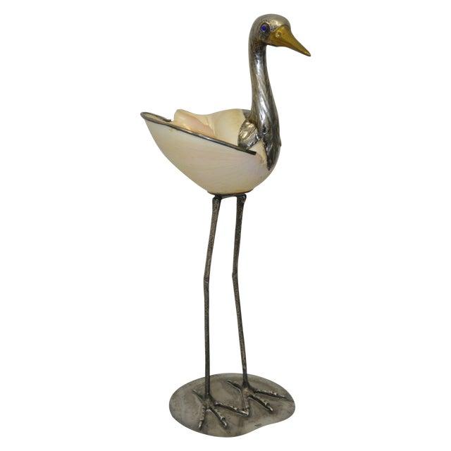 Silverplate & Shell Stork by Gabriella Binazzi - Image 1 of 7