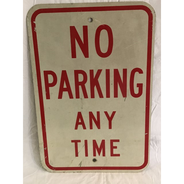 Vintage No Parking Any Time Metal Road Sign - Image 5 of 5