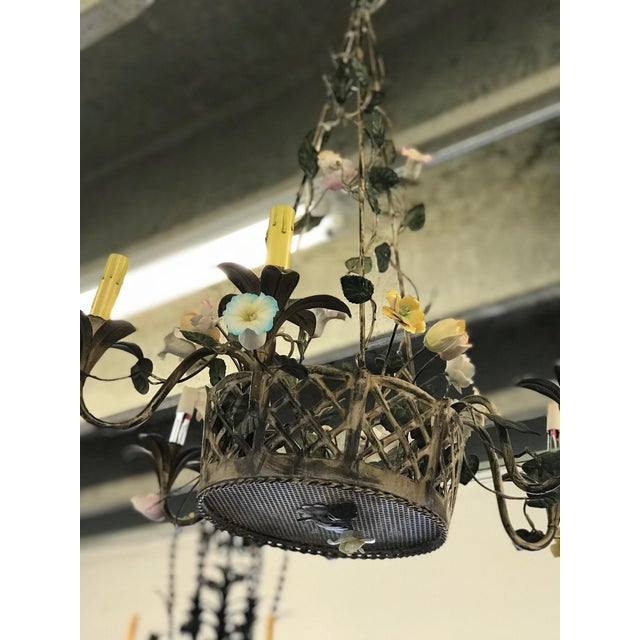 Vintage Metal Floral Chandelier - Image 2 of 5