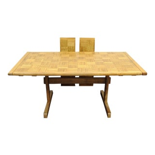 Vintage Meblo Extension Trestle Dining Table
