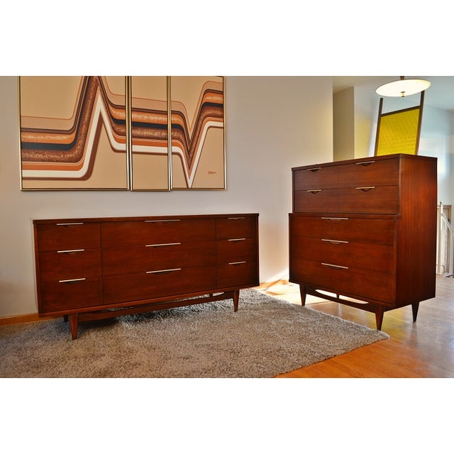 Image of Kent Coffey Mid-Century Tableau Highboy Dresser
