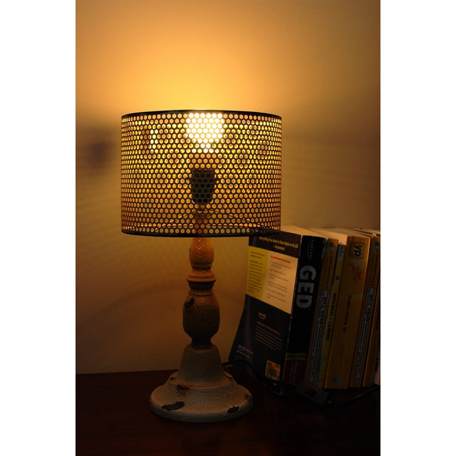 Rustic Cream Metal Hole Punched Table Lamp - Image 3 of 5