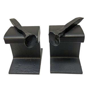 Cast Iron Anvil & Railroad Stake Sculptural Bookends